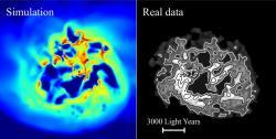 Rozložení plynného vodíku vsimulované trpasličí galaxii a vreálné galaxii IC 1613. – Kredit: Read et al. (2019).