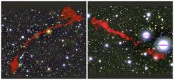 Kompozitní snímky obou nově objevených obřích rádiových galaxií. Kredit: Left: MGTC J095959.63+024608.6. Right: MGTC J100016.84+015133.0. I. Heywood (Oxford/Rhodes/SARAO).