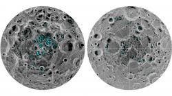 Místa sledem na jižním (vlevo) a severním (vpravo) pólu Měsíce. Kredit: NASA.