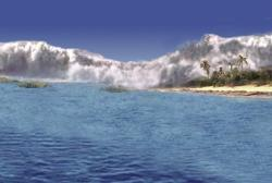 Podobný pohled se mohl naskytnout něšťastným obyvatelům proto-Karibiku před 66,0 miliony let řádově několik desítek minut až hodin po dopadu impaktoru Chicxulub. Díky menší hloubce okolních vod nebyla tsunami až tolik vysoká (mohla mít i řádové kilometry), přesto dosahovaly vlny výšky u pobřeží až přes 300 metrů. Kredit: Jake Bailey a David Kring, Lunar and Planetary Institute