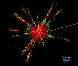 Simulace události svytvořením kvantové černé díry na LHC. Kredit: CERN.