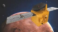 Umělecká představa družice Al Amal na oběžné dráze okolo Marsu (zdroj MBRSC).