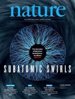 Výsledky studia vířivosti kvark-gluonového plazmatu na titulní stránce časopisu Nature.