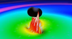Simulace srážky černých děr. Srotujícími červími děrami by to bylo podobné. Kredit: LIGO LabCaltech (MIT).