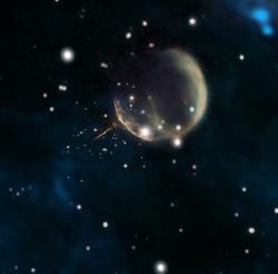 Pulzar J0002 a pozůstatek supernovy CBT 1. Kredit: Composite by Jayanne English, University of Manitoba, using data from NRAO/F. Schinzel et al., DRAO/Canadian Galactic Plane Survey and NASA/IRAS.