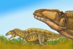 Akrokantosauři byli dominantními predátory svých ekosystémů, které sdíleli například se smečkami menších dromeosauridů druhu Deinonychus antirrhopus. Ti mohli být hrozbou pro menší mláďata akrokantosaurů, dospělcům ale nejspíš přímo nekonkurovali. Kredit: D. Bogdanov, Wikipedie (CC BY-SA 3.0)