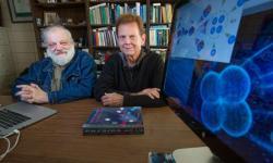 James Vary (vpravo) a Andrej Shirokov. To co na obrazovce jejich počítače vypadá jako čtyřbuněčné stádium vyvíjejícího se embrya 40–50 hodin po oplození, by měl být jejich nově objevený tetraneutron. (Foto: Christopher Gannon/Iowa State University)