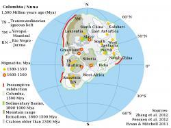 Superkontinent Columbia (Nuna). Kredit: Alexandre DeZotti / Wikimedia Commons.