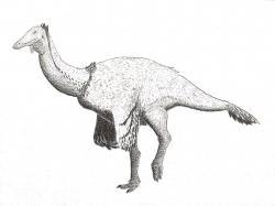 Rekonstrukce přibližného vzezření deinocheirida druhu Paraxenisaurus normalensis, žijícího v období pozdní křídy na území současného Mexika. Tento středně velký teropod je významný především tím, že představuje jediného známého zástupce své čeledi z území západní polokoule. Všichni ostatní deinocheiridi byli totiž objeveni pouze na území Mongolska a Číny. Kredit: Antonio R. Mihaila; Wikipedia (CC BY-SA 4.0)