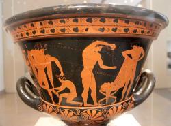 Způsobní atleti kolem roku 500 před. n. l. Altes Museum Berlin. Kredit: Eufronios (via Miguel Hermoso), Wikimedia Commons.