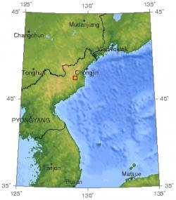 Oblasti jaderného polygonu Punggye-ri. Kredit: USGS.
