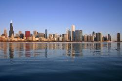 Chicago, oblíbená destinace sokolů stěhovavých. (Kredit: J. Crocker, enWikipedia)