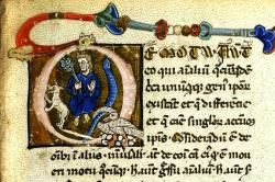 Miniatura Aristotela jako zoologa v rukopisu Alberta Velkého, 1200-1250. Kredit: Eisenbibliothek, Wikimedia Commons.
