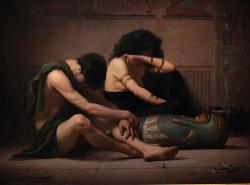 """""""Když nastala půlnoc, pobil Hospodin v egyptské zemi všechno prvorozené, od prvorozenéhosynafaraónova, který seděl na jeho trůnu, až po prvorozenéhosynazajatce v žalářní kobce, i všechno prvorozené z dobytka."""" Exodus 12:29. (Kredit: Charles Sprague Pearce)"""