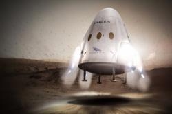 Dragon přistává motoricky na Marsu – zatím jen v představách umělce.Zdroj:http://spaceflightnow.com/