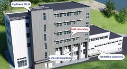 Vizualizace rekonstruované budovy, kde je nyní náš novy cyklotron, tandetron i spektrometr AMS (zdroj ÚJF AV ČR).