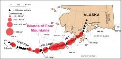 Sopky a kaldery vAleutách. Kredit: John Power/USGS.