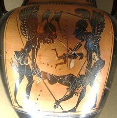 Hypnos a Thanatos na váze v Národním muzeum v Aténách. Hypnosje vřecké mytologiisyn bohyně nociNyktya bratr (dvojče) boha smrtiThanata. Je bohem spánku a také sámspánek. Nám lidem dává sny. Kredit: Wikipedia.