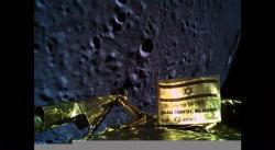 Vlastní snímek přistávacího modulu Beresheet na pozadí povrchu Měsíce pár minut před dopadem (zdroj SpaceIL).