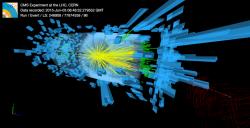 Srážka protonů zobrazená v experimentu CMS (zdroj CERN).