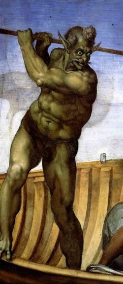 Charón. Kredit: Michelangelo, Poslední soud, Vatikán (1540).