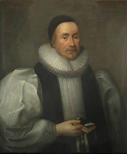 Irský arcibiskup James Ussher z Armaghu, autor jedné z nejdéle respektovaných biblických genealogií, jejímž výsledkem byl odhad stvoření světa roku 4004 př. Kr. Autorem obrazu je Cornelis Janssens van Ceulen (1641), převzato z Wikipedie.