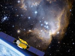 Čínská družice DAMPE měří energie nabitých částic kosmického záření s vysokými energiemi (zdroj DAMPE).
