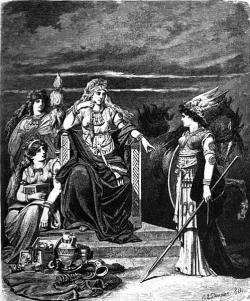 Vpravo bohyně Gná. Vpozadí její kůň Hófvarpnir. Kredit: Carl Emil Doepler.