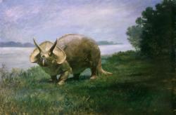 Tak nějak si možná představovali povrch Venuše autoři sci-fi literatury na přelomu 19. a 20. století. Dnes už víme, že zde vyobrazený ceratopsid Triceratops měl dynamičtější postoj a hlavně je nám jasné, že na Venuši bychom se s ním skutečně nesetkali. Kredit: Charles R. Knight (1901), Wikipedie