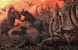 Objevy z některých nalezišť nasvědčují tomu, že alosauři se na některých místech účastnili pozdně jurských mrchožroutských orgií. Při těch se nepouštěli jen do masa zdechlin býložravých dinosaurů, ale také do mršin jiných alosaurů. V těchto částech tehdejších ekosystémů patrně panoval nesnesitelný zápach, ve kterém bychom dnes sotva vydrželi. Kredit: Brian Engh, studie Drumheller et al. (2020); Wikipedia (CC BY 4.0)
