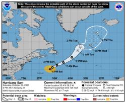 Hurikán Sam, 2. října 2021. Kredit: National Hurricane Center / Wikimedia Commons.