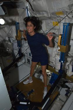 Sunita Williams cvičí na zařízení ARED. Zdroj: http://www.fragileoasis.net/