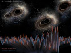 Poetika gravitačních vln. Kredit: LIGO, NSF, Aurore Simonnet (Sonoma State U.).