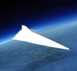 Čínský hypersonický kluzák podle čínské televize. Kredit: Shizhao / Wikimedia Commons.