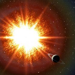 Jak by Zemi ovlivnila blízká supernova? Kredit: David Aguilar (CfA).