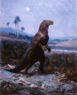 Opět ornitopod Iguanodon bernissartensis, tentokrát v podstatně starším provedení geniálního malíře Zdeňka Buriana. O mnoho desetiletí dříve Antonín Frič (který zemřel, když bylo umělci ze Štramberka teprve osm let) věřil, že podobná stvoření kdysi obývala i naši pradávnou vlast. Kredit: Zdeněk Burian