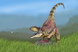 Po travnatých prostranstvích už se možná proháněli i poslední křídoví indičtí dinosauři, jakým byl například abelisauridní teropod Rajasaurus narmadensis. Pravé traviny však existovaly již mnohem dříve, zřejmě před nejméně 130 miliony let. Kredit: ДиБгд , Wikipedie (CC BY-SA 3.0)