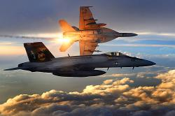 Super Hornety amerického námořnictva na bojové hlídce nad Afghánistánem. Kredit: Staff Sgt. Aaron Allmon, U.S. Air Force.