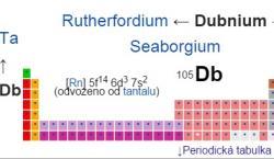 Dubnium, chemická značkaDb, je 13.transuranem, silněradioaktivníkovovýprvek. Doposud nebyl izolován vdostatečně velkém množství, aby bylo možno určit všechny jeho fyzikální konstanty. Při své poloze vperiodické tabulce prvkůby svými vlastnostmi mělo připomínattantal.  http://cs.wikipedia.org/wiki/Dubnium#PeriodickaTabulkaPrvku