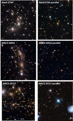 Montáž snímků galaktických kup v rámci programu Frontier Fields a soběžného Paralel Fields. Tyto kupy a přilehlé oblasti už byly v rámci víceletého (a zřejmě posledního rozsáhlého) snímkování podrobně zmapovány. Názvy kup jsou řazeny odshora dolů, vlevo je vždy snímek kupy primárního Hubbleova pole, vpravo pole přilehlého: Abell 2744, MACS J0416 a MACS J0717. Snímkování poslední kupy a jejího přilehlého pole se v současnosti zpracovává, takže můžeme v blízké době jasnější snímky ve větším rozlišení.  Zdroj: http://frontierfields.org/