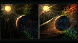 Porovnání množství ztráceného plynu za běžného stavu – vlevo a během solární bouře – vpravo. Zdroj: http://svs.gsfc.nasa.gov/