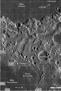 Místa přistání Luny 16, 20,23 a 24. Je krásně vidět, že Luny 16, 23 a 24 měly získat vzorky mořského regolitu z různých moří a Luna 20 pak regolit pevninský z oblasti mezi nimi (zdroj M. S. Robinson et al.)