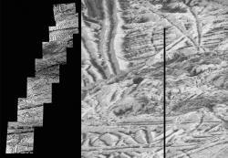 Tato mozaika snímků obsahuje ty nejdetailnější snímky jupiterova měsíce Europa, které pořídila sonda Galileo. Snímek, který se nachází úplně nahoře, má nejvyšší dostupné rozlišení 6 metrů na obrazový bod. Dalších sedm snímků má rozlišení 12 metrů na obrazový bod. Dokud k Jupiteru nedorazí další sonda, nedočkáme se podrobnějších fotek. Zdroj: https://www.nasa.gov/