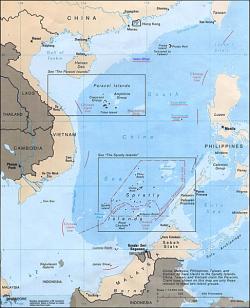 Horké ostrovy vJihočínském moři. Kredit: U.S. Central Intelligence Agency.