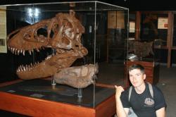 Fosilie dinosaurů v expozicích muzeí i jiných vzdělávacích institucí můžeme obdivovat už téměř dvě století. Přesto ještě dnes téměř polovina Američanů věří, že dinosauři ve své klasické podobě buď vůbec nevyhynuli nebo zmizeli teprve před několika staletími až tisíciletími. Na snímku o dvanáct let mladší autor článku u lebek dvou jedinců druhu Tyrannosaurus rex v prostorách Museum of the Rockies (Bozeman, Montana), dne 12. 7. 2009. Kredit: Vlastní snímek autora.