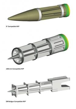 Různé typy HVP projektilů od BAE Systems. Kredit: BAE Systems.