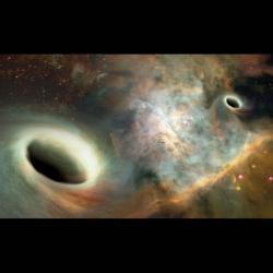 Jak to asi vypadá vcentru galaxie 0402+379? Kredit: Joshua Valenzuela/UNM.