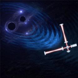 Gravitační observatoř a gravitační vlny. Kredit: University of Birmingham Gravitational Waves Group, Christopher Berry.