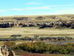 Výchozy geologického souvrství Foremost u řeky Milk River na území kanadské provincie Alberty. V současnosti je z vrstev této formace známo zhruba osm různých dinosauřích rodů, nejnovějším přírůstkem je právě tyranosaurid Thanatotheristes degrootorum. Stáří vrstev činí asi 80 až 77 milionů let, jsou tedy mírně starší, než například proslulé lokality v souvrství Dinosaur Park. Kredit: Georgialh; Wikipedie (CC BY-SA 4.0)