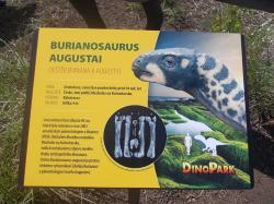 Informační cedule ke dvojici světově prvních modelů burianosaura, zatím jediného pojmenovaného druhohorního neptačího dinosaura, známého z našeho území.Kredit:Vlastní snímek, DinoPark v pražské Galerii Harfa, 20. 6. 2018.